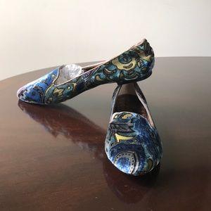 Ivanka Trump multicolored Velvet Pointed Toe Flats